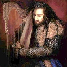 Thorin playing the harp