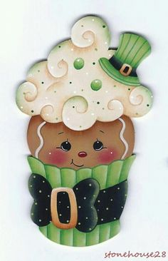 Nuevo in Crafts, Handcrafted & Finished Pieces, Handpainted Items Gingerbread Ornaments, Gingerbread Decorations, Gingerbread Man, Christmas Decorations, Christmas Ornaments, Wood Crafts, Diy And Crafts, Paper Crafts, St Patricks Day Cupcake