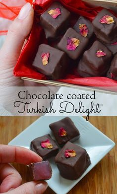 How to make Chocolate covered Turkish Delight - rich dark chocolate coating soft and aromatic rose candy #edibleflowers