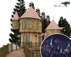 JK Rowling is building these Hogwarts inspired tree houses for her kids (cost 200k)!  Yeah, she can do that