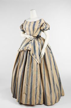 Dress, Evening  Date: ca. 1848 Culture: American Medium: silk Dimensions: Length at CB (a): 58 in. (147.3 cm) Length at CB (b): 14 3/4 in. (37.5 cm) Credit Line: Brooklyn Museum Costume Collection at The Metropolitan Museum of Art, Gift of the Brooklyn Museum, 2009; Gift of The Jason and Peggy Westerfield Collection, 1969 Accession Number: 2009.300.3335a, b