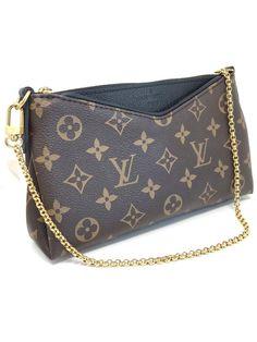 c63c91d0998b fashion Auth Louis Vuitton Pallas Clutch Gold Chain Black Monogram Canvas  Leather Bag Louis Vuitton Pallas
