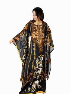 Aljalabiya.com: 'Arabian Knights' Butterfly chiffon Jalabiya with machine embroidery (N-11686) $206.00