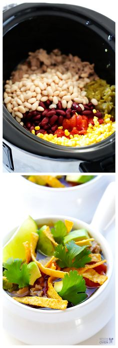 Skinny Slow Cooker Taco Soup --  simple to make, and so tasty! | gimmesomeoven.com #crockpot #slowcooker