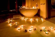 Bath with candles