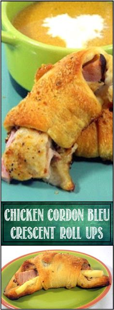 Chicken Cordon Bleu Crescent Roll ups... These are so easy and they really do have all of the taste and flavors of the classic... well, non classic (I explain that as well) French (not even French, but that's covered too) recipe. ALL made fast and easy with crescent rolls and Rotisserie Chicken A SUPER appetizer,