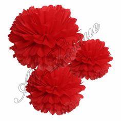 Tissue pom poms - red