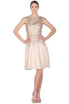 Badgley Mischka Sequin Lace and Tweed Cocktail Dress mother-of-the-bride dress