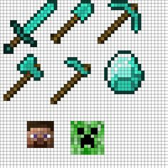 MineCraft Tool Set Perler Bead Pattern | Bead Sprites | Misc Fuse Bead Patterns