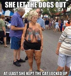 Who Let the Dogs Out? At Least She Kept the Cat Locked Up - Boob Art Fail