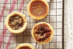 Make your own delectable custardy tarts instead of buying them. We've subbed in the very Canadian ingredient maple syrup for the more common corn syrup. Plus, we've included variations on the classic, with chocolate and pecans instead of raisins. Fun Baking Recipes, Tart Recipes, Dessert Recipes, Cooking Recipes, Syrup Recipes, Baking Desserts, Sweet Recipes, Canadian Living Recipes, Canadian Food