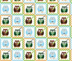 Geeky / Nerdy Owls Fabric