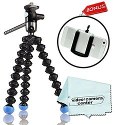 Joby GorillaPod Video Tripod (Black/Blue) JB00171 for Point and Shoot, Compact System Cameras and for Action Cameras and a Bonus Universal Smartphone Tripod Mount Adapter works for iPhone 5, 5s, 6, 6 Plus, HTC One, Galaxy S2, S3, S4, S5, S6, Blackberry Z10,Q10, Motorola Droid and Most Smartphones >>> Click on the image for additional details. (This is an Amazon Affiliate link and I receive a commission for the sales)