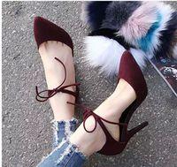 2015 Designers apontou toe pele de carneiro tornozelo lace up sensuais de salto alto das mulheres couro genuíno saltos finos bombas sapatos de casamento