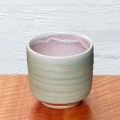 Wood fired copper glazed Yunomi - outer satin matt surface, inner pink flashing from  atmospheric reduction   Dianne Collins, Melbourne