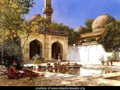 Figures In The Courtyard Of A Mosque - Edwin Lord Weeks - www.edwinlordweeks.org