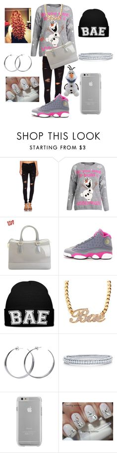 """""""Olaf Is Bae"""" by dopeoutfitmaker ❤ liked on Polyvore featuring True Religion, Furla, NIKE, Coco's Liberty, BERRICLE, Case-Mate and Disney"""