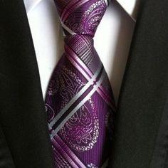 Mantieqingway Vintage Men's Suits Necktie Upscale Polyester Yarn Plaid Pattern Neck Ties For Mens Business Floral Tie Cravat Paisley, Men Formal, Formal Wear, Suit Accessories, Wedding Ties, Silk Ties, Purple And Black, Blue Yellow, Orange