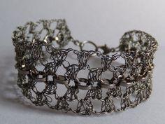 Hand Crochet  Hematite Wire and Gunmetal Chain by PrayerMonkey, $25.00