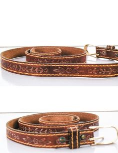 1970's Boho Hippie Thin Tooled Leather BELT // by sideshowsam, $32.00