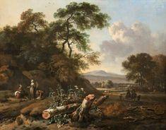 Jan Wijnants - Landschap met een omgevallen boom, boeren en jagers