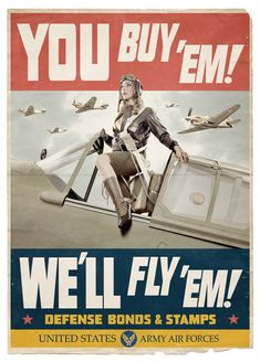 Pin-up in U.S. Army Air Forces poster portraying Women Airforce Service Pilots (WASP)