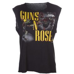 VINTAGE 1987 'Guns N' Roses' tour t-shirt ($300) ❤ liked on Polyvore featuring tops, t-shirts, shirts, tank tops, cotton t shirt, round neck t shirt, sleeve t shirt, cut sleeves off shirt and cut off t shirt