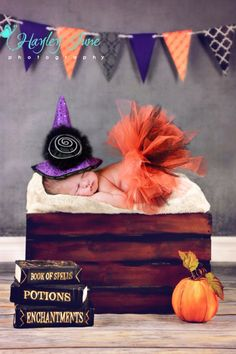 Happy Halloween!  Isn't she just the cutest little witch ever?!   Newborn, Calgary Newborn, Hayley June Photography, Halloween, Witch costume, newborn photo ideas