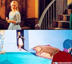 Cinderella cartoon & live action film parallels