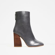ZARA - WOMAN - LEATHER ANKLE BOOTS WITH WOODEN HEEL
