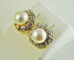 14k-Solid-Gold-9-8mm-Pearl-06-ct-Natural-Diamond-Earrings-NWOT