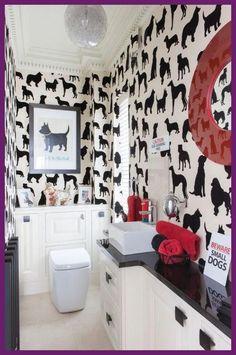 Dog Bathroom, Bathroom Red, Chic Bathrooms, Bathroom Wallpaper, Small Bathroom, Bathroom Flowers, Glass Bathroom, Bathroom Ideas, Dog Room Design
