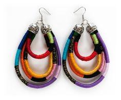 Oversized African Earrings Tribal Earrings Rope by KiaFilStudios African Earrings, Tribal Earrings, Red Earrings, African Jewelry, Rope Jewelry, Unique Jewelry, Fabric Earrings, Statement Jewelry, Beautiful Necklaces