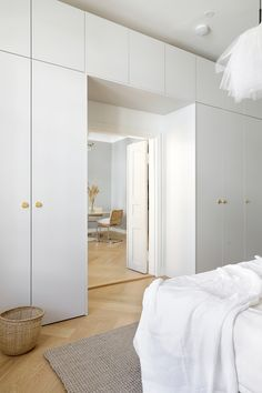 This bedroom isn't only a stunner but a real storage wonder, too. This wardrobe is built on IKEA Pax frames, and it has A.Helsingö INGARÖ doors and cover panels combined with BAGEL handles in brass. Bedroom Built In Wardrobe, Wardrobe Wall, Ikea Pax Wardrobe, Wardrobe Handles, Closet Bedroom, Pax Closet, Ikea Pax Doors, Ikea Built In, Small Bedroom Storage