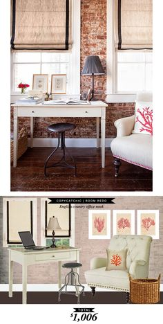 A rustic, cozy cottage office nook for only $1,000 Original design by @jennywolfint and recreated by @lindseyboyer for Copy Cat Chic #roomredo