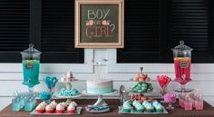 """Gender reveal party --decorate pink on one side and blue on the other! Nice way to """"not have a baby shower"""" with those Uh games & women only. Could have a real party or brunch instead."""