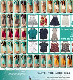 "Mormon, but may be helpful for planning. ""How to make 414 outfits with 24 pieces."""