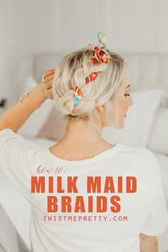 I've got THE CUTEST hairstyle for you today -- what do you think about these milk maid braids?! I've always loved milk maid braids because they're so dang easy and work well with a lot of different hair lengths and textures. I saw this idea from A Beautiful Mess, incorporating the scarf into the braid and not only is it super cute and adds awesome texture and color, but it's actually pretty functional. The scarf holds the braids in place