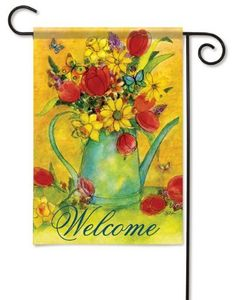 Floral Watering Can Garden Flag - 2 Sided Message by Flag Trends. $10.99