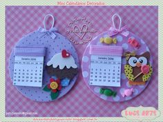 Doce Arte by Pati Guerrato: Mini calendários Kids Crafts, Foam Crafts, Fabric Crafts, Sewing Crafts, Diy And Crafts, Paper Crafts, Cd Diy, Recycled Cd Crafts, Recycled Glass