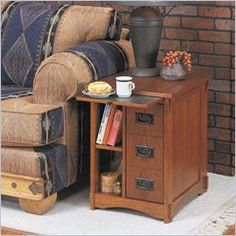 Powell furniture mission oak magazine rack cabinet, $170.00