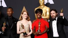 Best Supporting Actor Mahershala Ali, for Moonlight, Best Actress Emma Stone for La La Land, Best Supporting Actress Viola Davis, for Fences and Best Actor Casey Affleck for Manchester by the Sea hold their Oscars Mahershala Ali, Best Actress, Best Actor, Manchester, Casey Affleck, Damien Chazelle, Actress Emma Stone, Oscars 2017, Best Supporting Actor