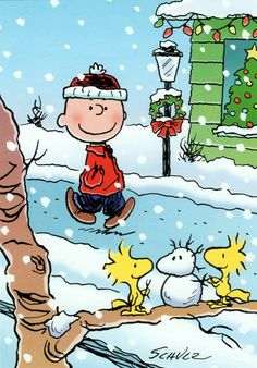 Peanuts Christmas Card: Charlie Brown Walks in Snow, Woodstock Builds Snowman Meu Amigo Charlie Brown, Charlie Brown Und Snoopy, Charlie Brown Quotes, Peanuts Cartoon, Peanuts Snoopy, Peanuts Christmas, Christmas Art, Funny Christmas, Grinch Christmas