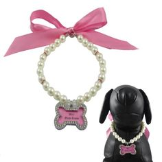 "Alfie Couture Designer Pet Jewelry - Sue Pearl Necklace with Mini Photo Frame Charm - Color: Pink, Size: S (10""-12"") for Dogs and Cats - http://www.thepuppy.org/alfie-couture-designer-pet-jewelry-sue-pearl-necklace-with-mini-photo-frame-charm-color-pink-size-s-10-12-for-dogs-and-cats/"