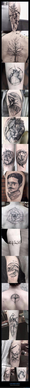 13 tatuajes espectaculares formados a partir de líneas geométricas - Vista así, es mucho más atractiva