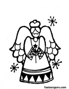 Print out coloring sheet of Christmas Angel for kids - Printable Coloring Pages For Kids