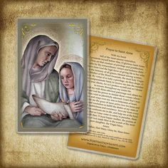 Hey, I found this really awesome Etsy listing at https://www.etsy.com/listing/185888749/saint-anne-and-child-mary-prayer-card