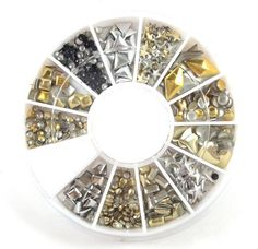Gold Silver Black  12 Different Styles Acrylic Nail Art Stickers Tips Glitter Fashion Nail Tools Diy Decoration Stamping