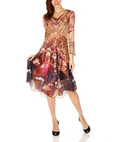 Beige & Red Abstract Floral V-Neck Dress by Lindi #zulily #zulilyfinds
