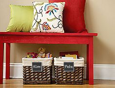 Paint a piece of cardboard with chalkboard paint. Attach with clothespin to label basket, project...Love this one!